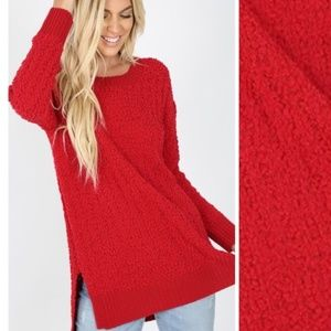 Sweaters - Bright Red Popcorn Oversized Knit Sweater